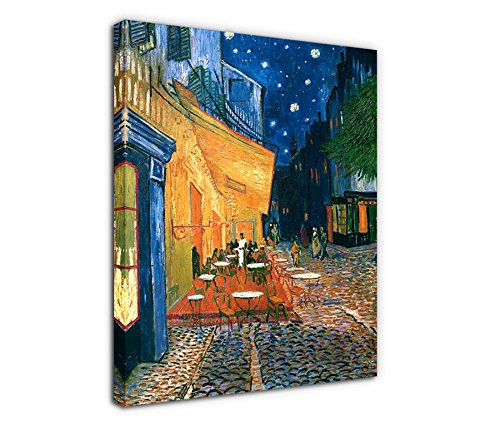 Cafe Terrace at Night Vincent Van Gogh Painting Canvas Prints Wall Art Decor Framed 30x40 Inch - Large Modern Giclee Art Reproductions Print on Canvas Ready to Hang for Home and Office Decoration ()
