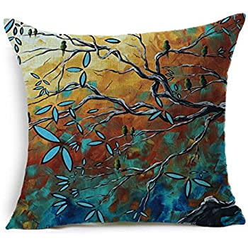 Oil Painting Hundreds of Birds Cotton Linen Throw Pillow Case Cushion Cover Home Sofa Decorative 18 X 18 Inch(3) (6)
