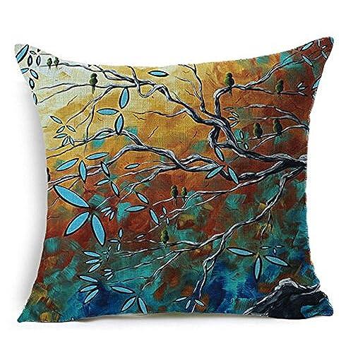 QINU KEONU Oil Painting Hundreds Of Birds Cotton Linen Throw Pillow Case  Cushion Cover Home Sofa Decorative 18 X 18 Inch(3) (6)