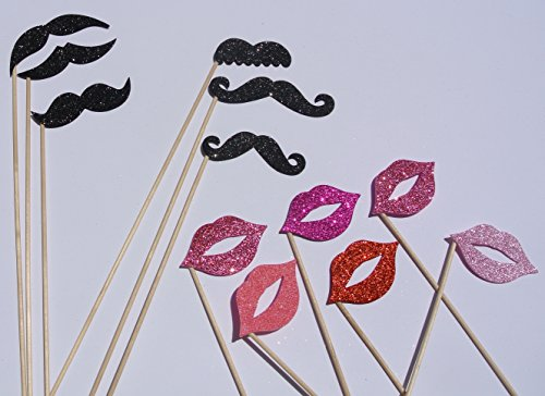 (Photo Booth Props Mustaches Lips on a Stick Father Day)