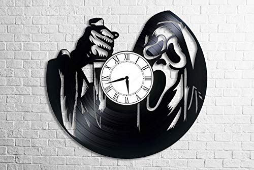 BestGiftStore Scream Movie maniac with a Knife Horror Creepy Halloween Wall Vinyl Art Clock Gift for her Gift for him Childrens Kids Men Women Bedroom Kitchen Home -