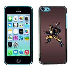 PC/Aluminum Funda Carcasa protectora para Apple Iphone 5C Angry Superhero / JUSTGO PHONE PROTECTOR