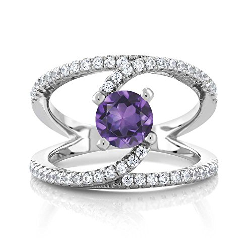 Sterling Silver Purple Amethyst Women's Swirl Ring (1.28 cttw, Available in size 5, 6, 7, 8, 9) ()