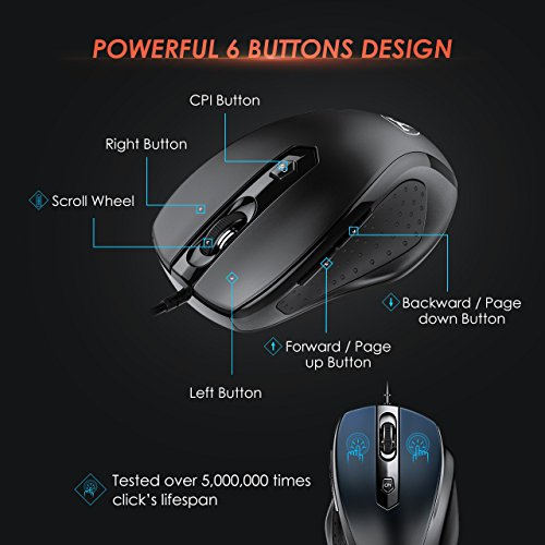 VicTsing 6-Buttton Wired USB Optical Mouse Optical Mice, 4 Adjustable DPI Levels (3200/2400/1600/1000), with 5ft Cord, Support Notebook, PC, Laptop, Computer, Macbook