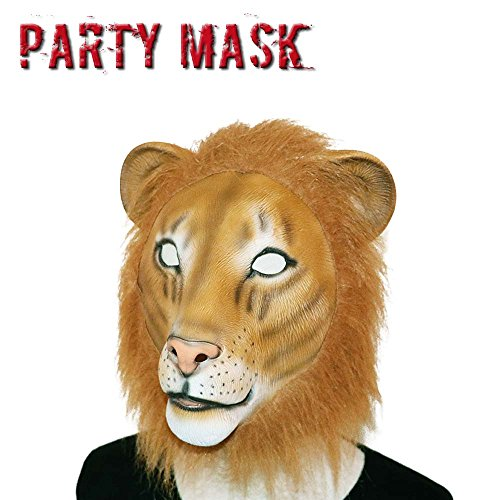 [Monstleo Latex Rubber Animal Head Mask Halloween Party Costume Decorations Masks Lion] (Animal Halloween Costumes Men)