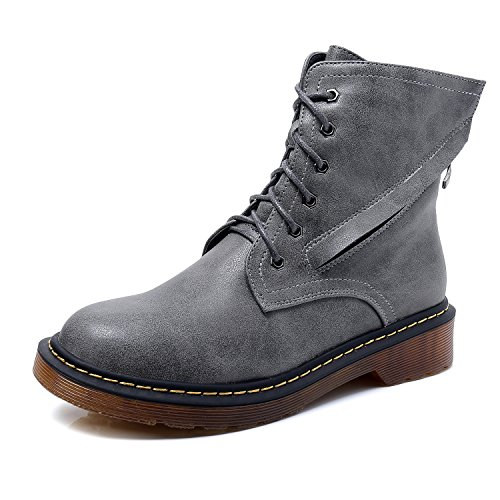 Smilun Lady's Classic Derby Ankle Boot Lace-Up and Zip Shoes Grey zdZDb1UXN