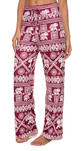 (Artfish Women's Loose Baggy Yoga Long Pants Floral Printed Trousers Flowy Beach Pants Elephant Printed (19# Red, S))