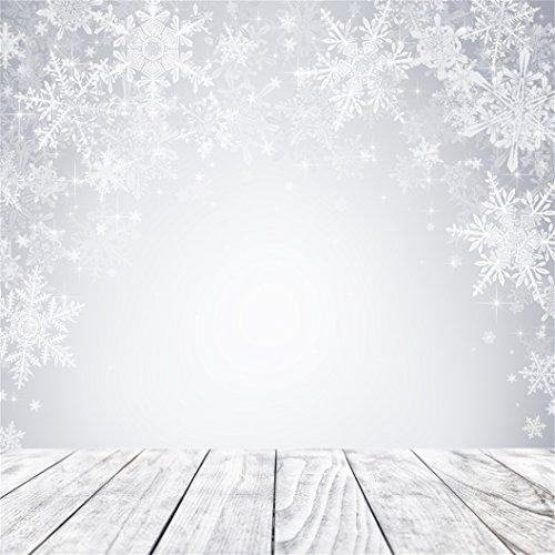 AOFOTO 5x5ft Snowflake Backdrop Dreamy Winter Photography Background Wood Floor Kid Baby Girl Child Toddler Artistic Portrait Christmas Photo Shoot Studio Props Video Drop Vinyl Wallpaper Drape (Shoot Photo Studio Christmas)