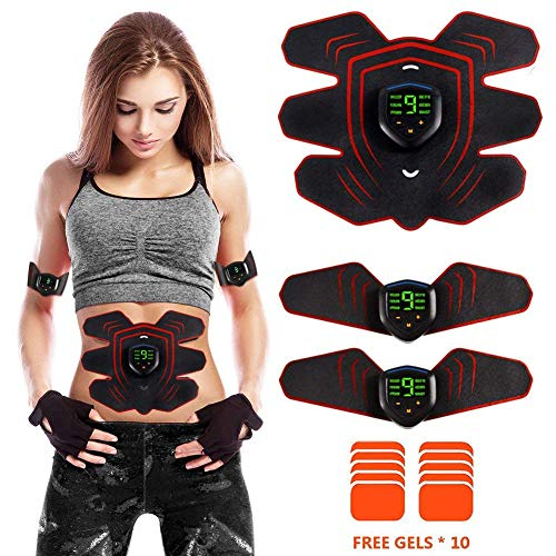 AILIDA EMS Trainer, ABS Abdominal Muscle Toner Belt with LCD Display and USB Rechargeable, 6 Modes & 10 Levels Portable Fitness Equipment for Men and Women