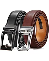 Ratchet Belt Gift Set, Chaoren Leather Click Belt Dress with Sliding Buckle 1 3/8