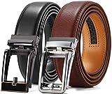 Ratchet Belt Gift Set, Chaoren Leather Click Belt Dress with Sliding Buckle 1 3/8' - Adjustable Trim to Exact Fit