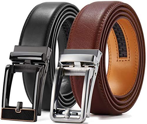 Ratchet Belt Gift Set, Leather Click Belt Dress with Sliding Buckle 1 3/8