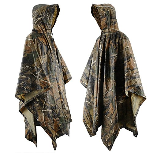[Rain Poncho JTENG Waterproof Ripstop Hooded US PVC Camouflage Rain coat (Maple Leaf)] (Good 4 People Costumes)