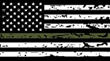 #9: GreenLine Flags Thin Green Line Vinyl Reflective Decal, Black, White & Green American Flag Sticker. Thin Green Line Tattered US Flag . 3M Outdoor Series Highly Reflective Vinyl Decal