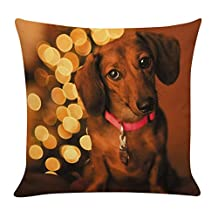 Auwer Merry Christmas Elegant Animals Printing Cotton Linen Pillow Case Cushion Cover Sofa Waist Throw Bed Chair Pillowcase Festival Home Decoration 18'' (F)