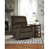 Flash Furniture Signature Design by Ashley Bronwyn Swivel Glider Recliner in Cocoa Fabric For Sale