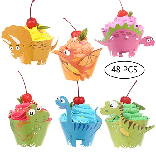 - Dinosaur Birthday Party Cupcake Wrappers 48 pcs Kids Birthday Party Supplies by CCINEE