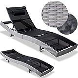 Poly Rattan Sun Lounger Garden Outdoor Furniture Deck Chair Recliner Day Bed 220x70x40-92cm Black Grey Wicker