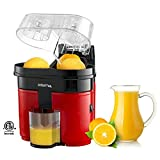 Gourmia GCJ-200 Ultimate Slice & Squeeze Electric Dual Power Fruit Citrus Juicer Extractor, Red