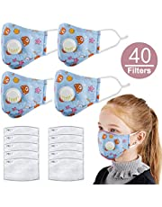 Asdomo 5 Pack Kids Pollution Mask Military Grade Anti Dust and Smoke Mask with 50 Filters PM2.5 Dustproof Half Face Mask N95 Carbon Activated Washable Respirator Masks with Adjustable Straps & Nose Bridge