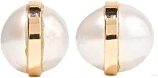 product image for Melissa Joy Manning 14k Gold Bezel Wrapped Pearl Stud Earrings