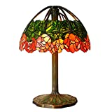 Bieye L10020 20-inches Water Lily Tiffany Style Stained Glass Table Lamp with 100% Brass Base, 31-inches Tall