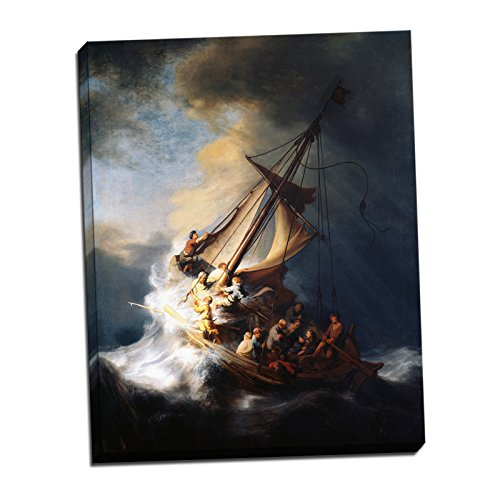 Gallery Wrapped Canvas 22x28' - Rembrandt Harmenszoon van Rijn The Storm on the Sea of Galilee Gallery Wrapped Canvas Giclee Print - Finished Size (W) 22'' x (H) 28'' [Gallery-Wrap] (V18-05T-Stretched-Border)