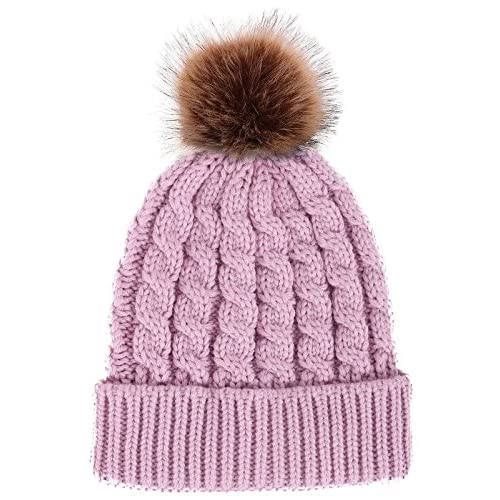 Women's Winter Soft Knitted Beanie Hat with Faux Fur Pom Pom, Light Purple