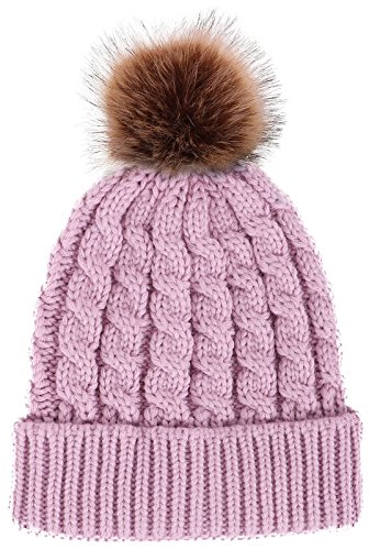 Toppers Women Winter Warm Knitted Faux Fur Pom Pom Beanie Hat