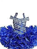 YIPEISHA Baby Girls' Beading Halter Ruffles Cupcake Flower Pageant Dress 7 US Blue