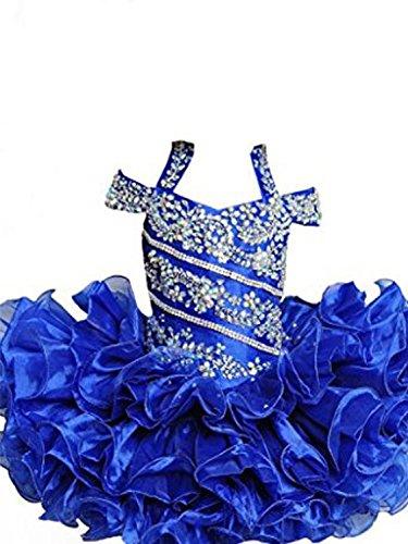YIPEISHA Baby Girls' Beading Halter Ruffles Cupcake Flower Pageant Dress 6 US Blue