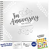 10TH ANNIVERSARY GIFTS FOR COUPLES BY YEAR - Ten Year Booklet with Matching Card for Tin Anniversary. Tenth Anniversary Memory Journal - Unique 10 Year Wedding Gift for Husband or Wife!