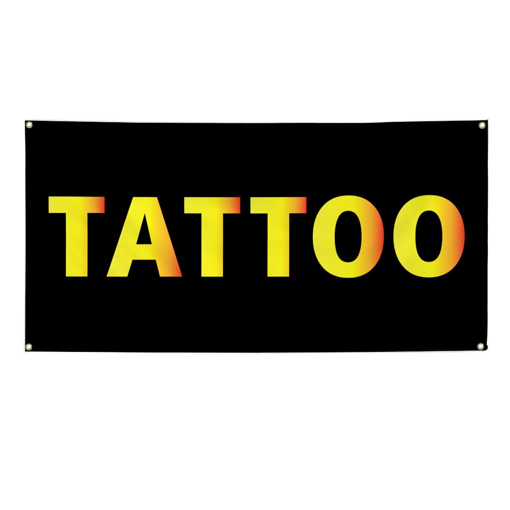 24inx60in Set of 3 4 Grommets Multiple Sizes Available Vinyl Banner Sign Tattoo #1 Business Tattoo Outdoor Marketing Advertising Black