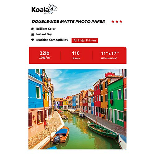 11x17 Presentation Paper - Koala Double Sided Matte Photo Paper 11x17 Inches 120gsm 110 Sheets Compatible with All Inkjet Printer