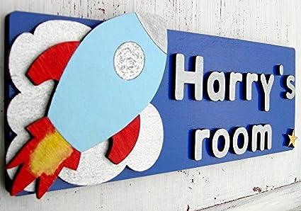 Personalised Boys Bedroom Door Plaque - Rocket Design, Door ...