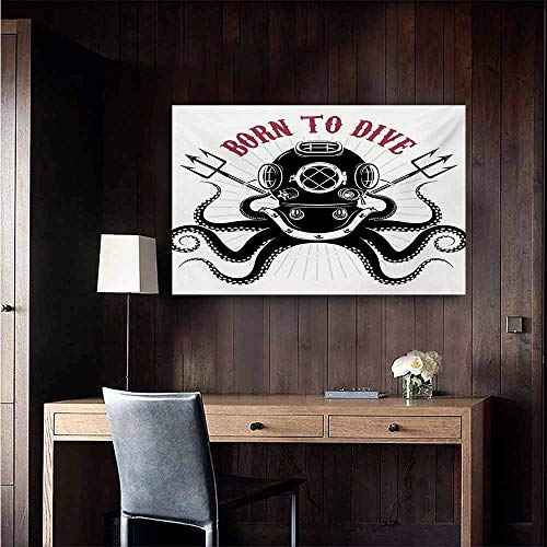 duommhome Octopus Art Oil Paintings Octopus with Two Tridents and Diver Pattern Born to Dive Marine Style Print Canvas Prints for Home Decorations 24