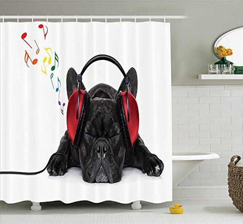 Dog Lover Decor Collection Bulldog Listening to Music with Earphones Headphones Relaxing on The Floor Polyester Fabric Bathroom Shower Curtain Set Black