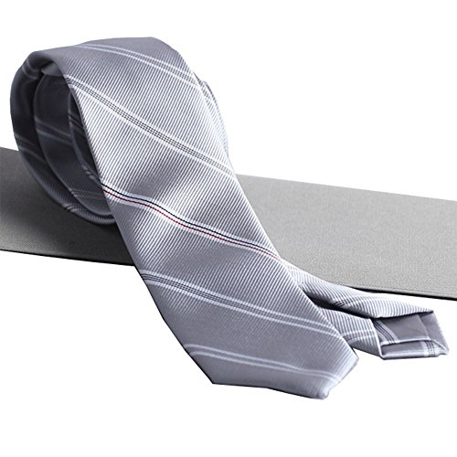 Fashion Yarn-Dyed Jacquard Platinum-Gray Stripes Business Men's Gift Boxed Tie Gift Tie Necktie