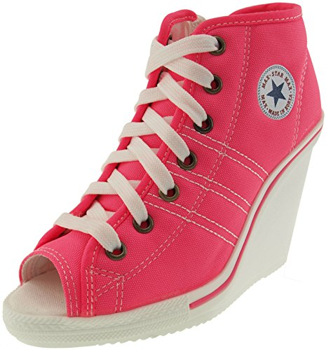 Maxstar 777 Toe Open-Side Zipper Canvas Wedge Heels Shoes Pink 6.5 B(M) US Womens