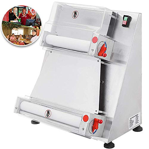 VEVOR Commercial Dough Roller Sheeter 15.7inch Electric Pizza Dough Roller Machine 370W Automatically Suitable for Noodle Pizza Bread and Pasta Maker Equipment (Best Bread Maker For Pizza Dough)