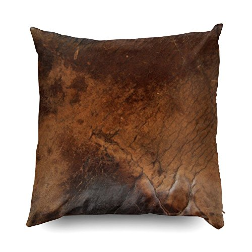 TOMWISH Hidden Zippered Pillowcase Worn Saddle Faux Leather 20X20Inch,Decorative Throw Custom Cotton Pillow Case Cushion Cover for Home Sofas,bedrooms,Offices,and More
