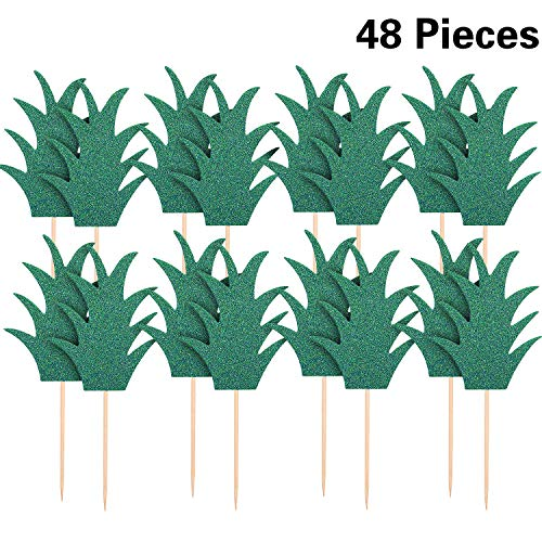 48 Pieces Hawaiian Tropical luau Cupcake Toppers Summer Party Cupcake picks Cactus Flamingo Pineapple Palm Cake Toppers Toothpick for Birthday Party Favors (Glitter Pineapple)