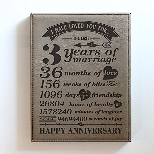Bella Busta- 3 Years of marriage - Years,Months, Weeks, Days, Hours, Minutes, Seconds-3rd anniversary gift-Our 3rd Wedding Anniversary-Engraved Leather Plaque (7
