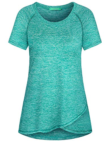 Kimmery Running Shirts for Women, Dry Fit Moisture Wicking Tops Loose Fitting Short Sleeve Chic Irregular Hem Round Neck Basic Tunic Tee Soft Surroundings Clothing Beach Tennis Activewear Green XXL