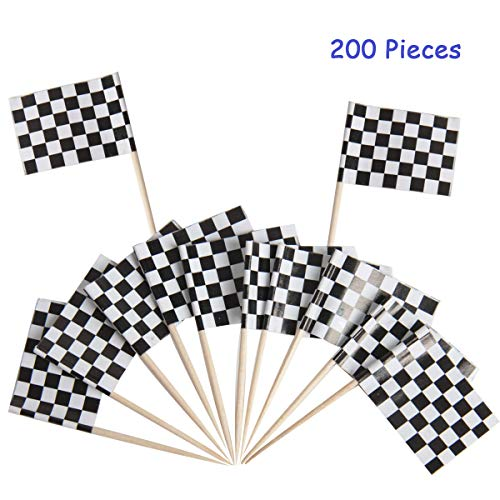 Hapy Shop 200 Pack Checkered Racing Flag Cupcake Picks Toothpick Flag Cupcake Toppers Birthday Party Decorations