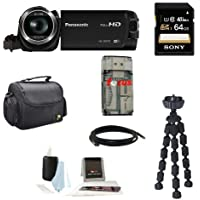 Panasonic HC-W570 Super Zoom Camcorder with Built-in WiFi + Sony 64GB SDXC Memory Card + Deluxe Accessory Kit