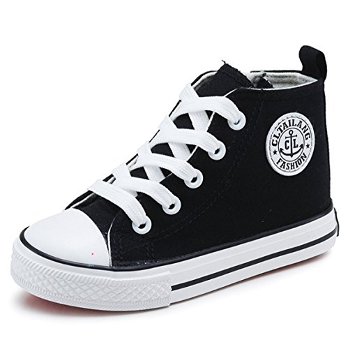 Sabe Unsix Kids Boys Girls Canvas High Top Gym Shoes Trainers Sneakers(Toddler/Little Kid/Big Kid) (10.5 M US Little Kid, Black)