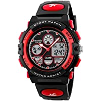 BesWLZ Boys Watches Multifunction Dual Time Digital Watches Alarm Sports Waterproof Kids Watches (Red)