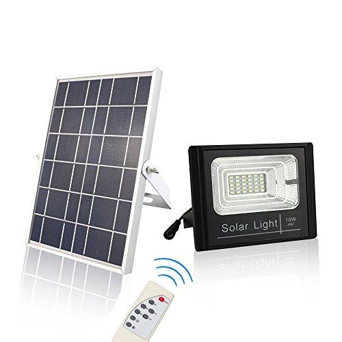 - ChiChinLighting Solar Flood Light Dusk to Dawn Sensor 800 Lumen IP67 Waterproof with Solar Panel and Remote Control Full Light All Night Power Spotlight - Off Grid Cabin - Lawn - Sports Court
