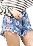 Romacci Women Denim Shorts Frayed Ripped Holes Sequins High Waist Slim Short Jeans Light Blue